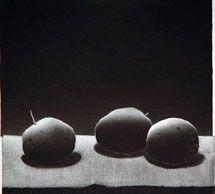 Pentti_Kaskipuro, Tre potatisar, 1998. Torrnål och akvatint.