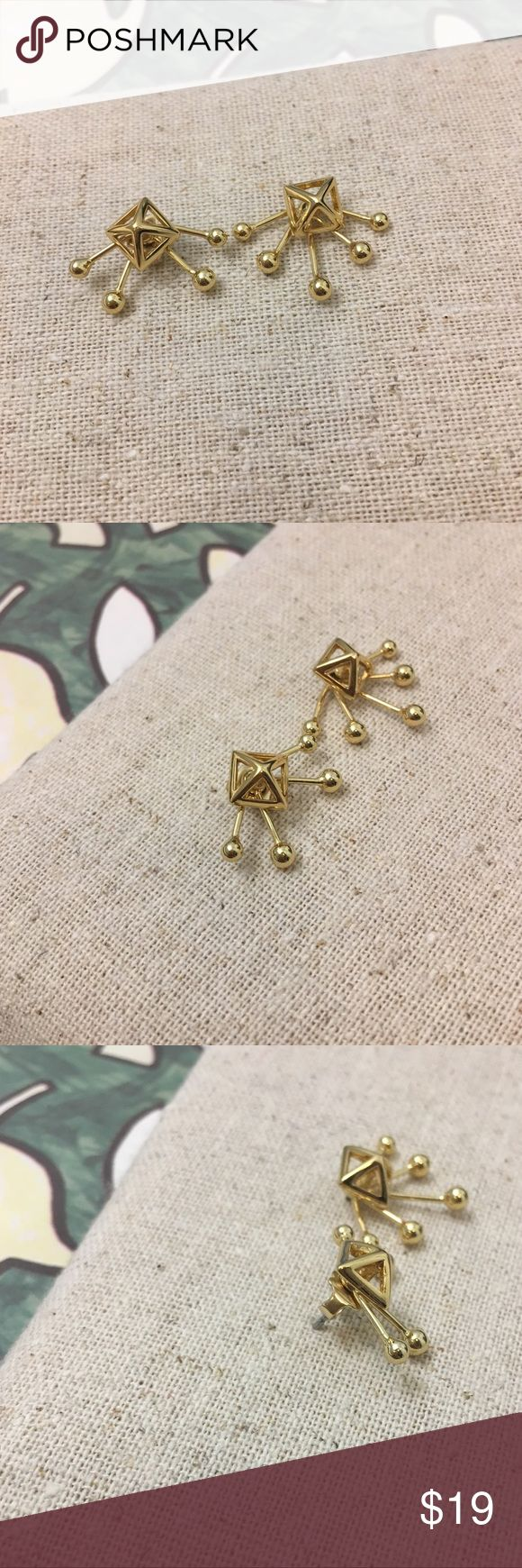 [NEW] Rebecca Minkoff 3-D star earrings Modern earrings by Rebacca Minkoff; 3 dimensional; the top layer can be used as a separate pair of earrings! Key words: modern, triangle, 3-D, star, gold Rebecca Minkoff Jewelry Earrings