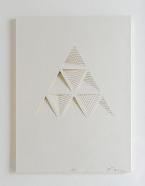 Ghostly Process Series: Triangels Extruded,  paper, 2010 by Matt Shlian