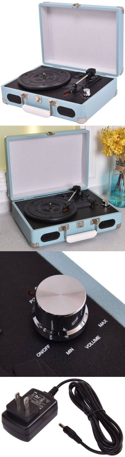 Other Vintage A V Parts and Accs: Vintage Vinyl Record Player Portable Built In Speakers Turntable Stylus New BUY IT NOW ONLY: $73.99
