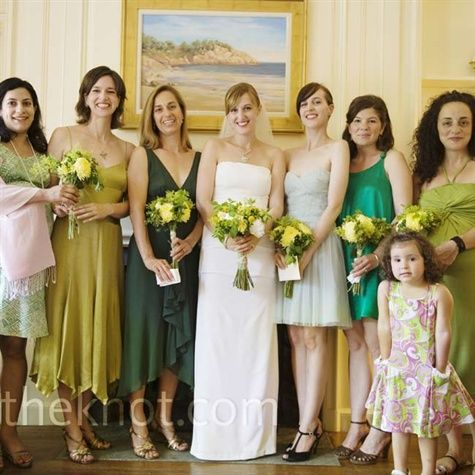 Another same color family, different syles and lengths. Bouquets help too in knowing that, yep, this is the wedding party.
