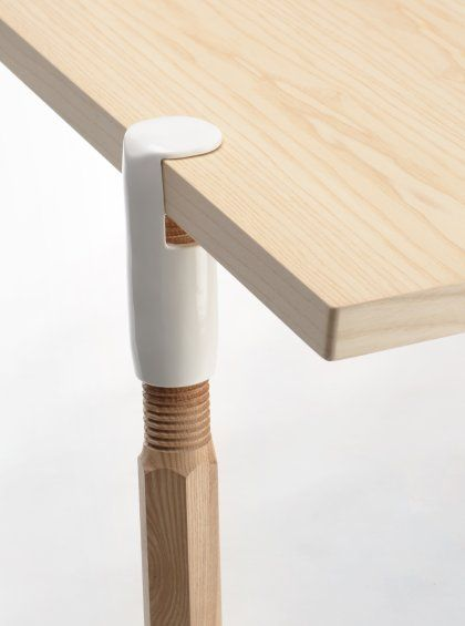 Clamp-a-Leg (Jorre van Ast, 2012): a set of four solid ash legs, threaded into a strong metal clamp to transform any flat surface into a desk or dining table.