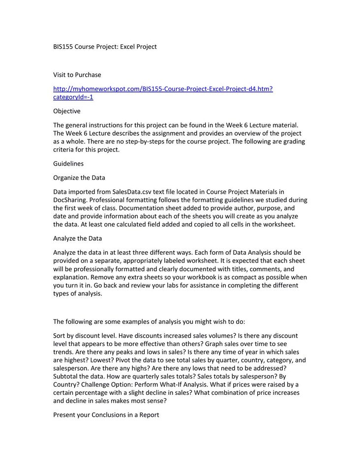 Bis155 course project excel project - paper formatting guidelines