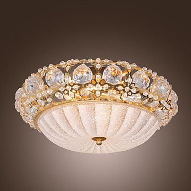 exuberantes grânulos de cristal modernos montagem plana com 3 luzes acabamento dourado – BRL R$ 626,97