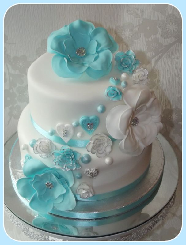 Flowers and hearts wedding cake - Lovely cake to work on in my favorite colour with diamantes and silver leaf x