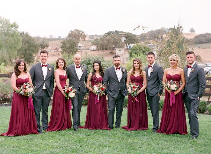 Burgundy bridesmaid dresses + burgundy wedding bouquet + burgundy bow ties | fabmood.com #wedding #fallwedding
