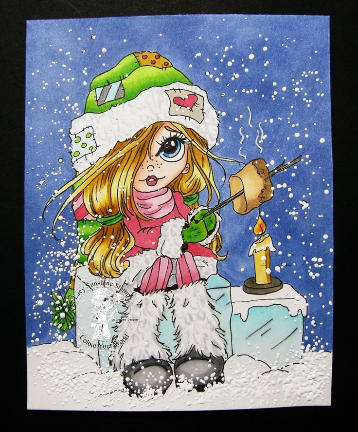 COLORING: Rorys Winter Smores, a digital image from Lacy Sunshine Stamps