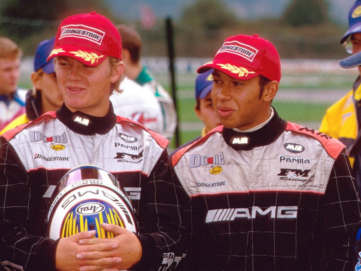 Lewis Hamilton & Nico Rosberg in AMG racesuits - circle of life...
