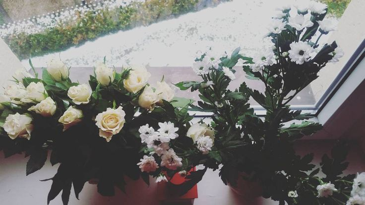 """What a cute surprise on this snowy monday morning.. thanx for the flowers my """"hase"""" #mondaymorning #snow #whiteflowers #cutesurprise #makesmehappy #mademymorning #tattoos #ink #beautiful #hase #hamburg #london #paris #newyork #miami #losangeles #potd #maryj"""