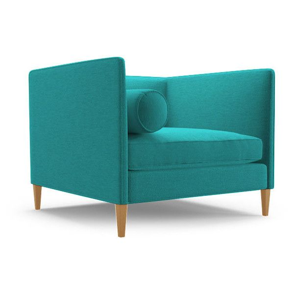 Joybird Furniture Lennon Transitional Chair ($899) ❤ liked on Polyvore featuring home, furniture, chairs, accent chairs, blue, blue accent chair, blue chair, transitional furniture and transitional chairs