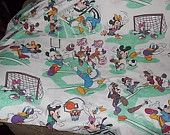 Disney Mickey, Minnie and Friends Sports Sheets,Vintage Sheets, Double Bed Size Flat Sheet /Not included in Coupon Discount Sale /:)S