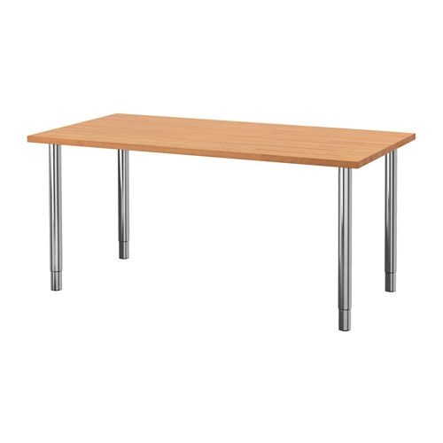 IKEA - GERTON, Table, , Solid wood is a durable natural material.Pre-drilled holes for legs, for easy assembly.You can choose the height of your work surface, between 70-107 cm, with the height adjustable legs.The table can be moved across the floor without worry because the plastic feet protect against scratching.