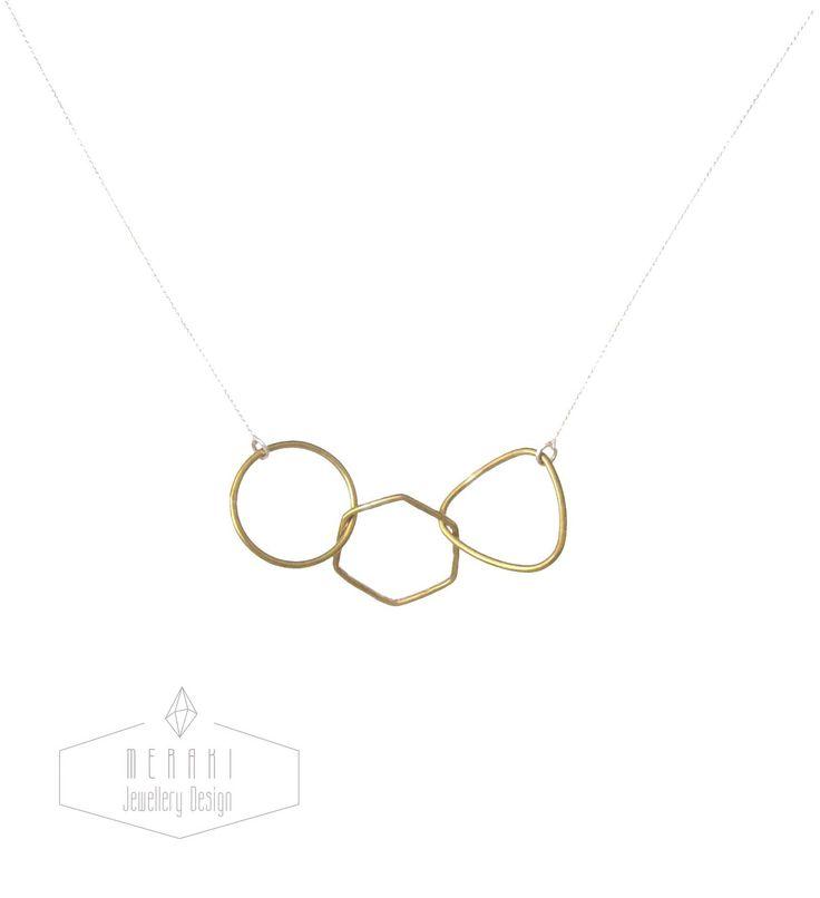 Brass geometric necklace www.merakijewellerydesign.com