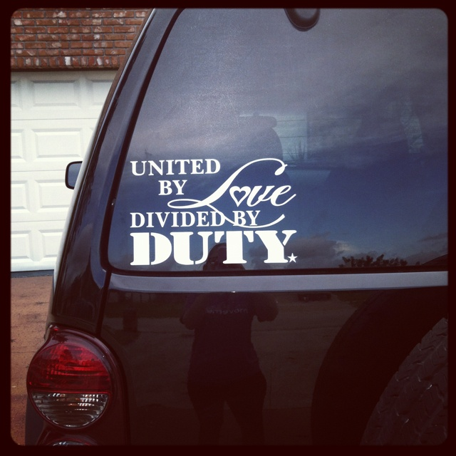 Car window decal during deployment