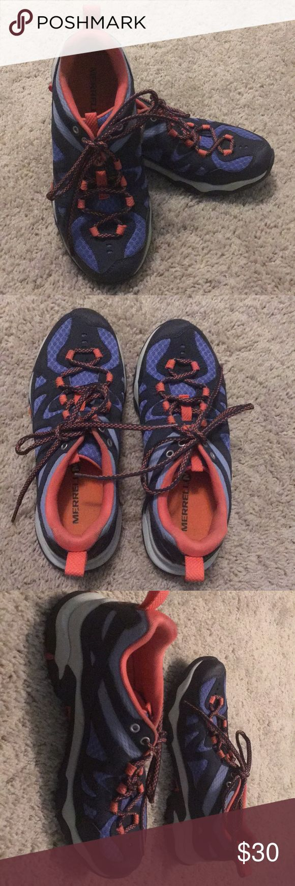 MERREL shoes MERREL hiking shoes featuring sticky rubber soles. Like new condition. Super small and barely noticeable dirt mark on back left heel (see photo) that would most likely come of if washed. Merrell Shoes Athletic Shoes