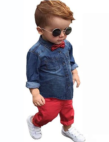 eb1e56015e Boy s Cotton Summer Spring Fall Fashion Cowboy Shirt Casual Trousers  Two-Piece Set. Ropa ...