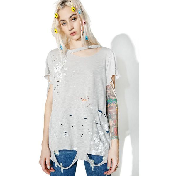 Distressed Paint Splatter T-Shirt ($30) ❤ liked on Polyvore featuring tops, t-shirts, distressed white tee, torn t shirt, destroyed t shirt, paint splatter t shirt and distressed white t shirt