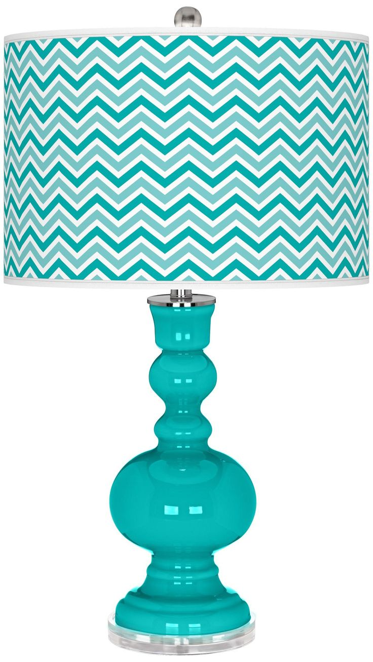 Turquoise Narrow Zig Zag Apothecary Table Lamp - $150