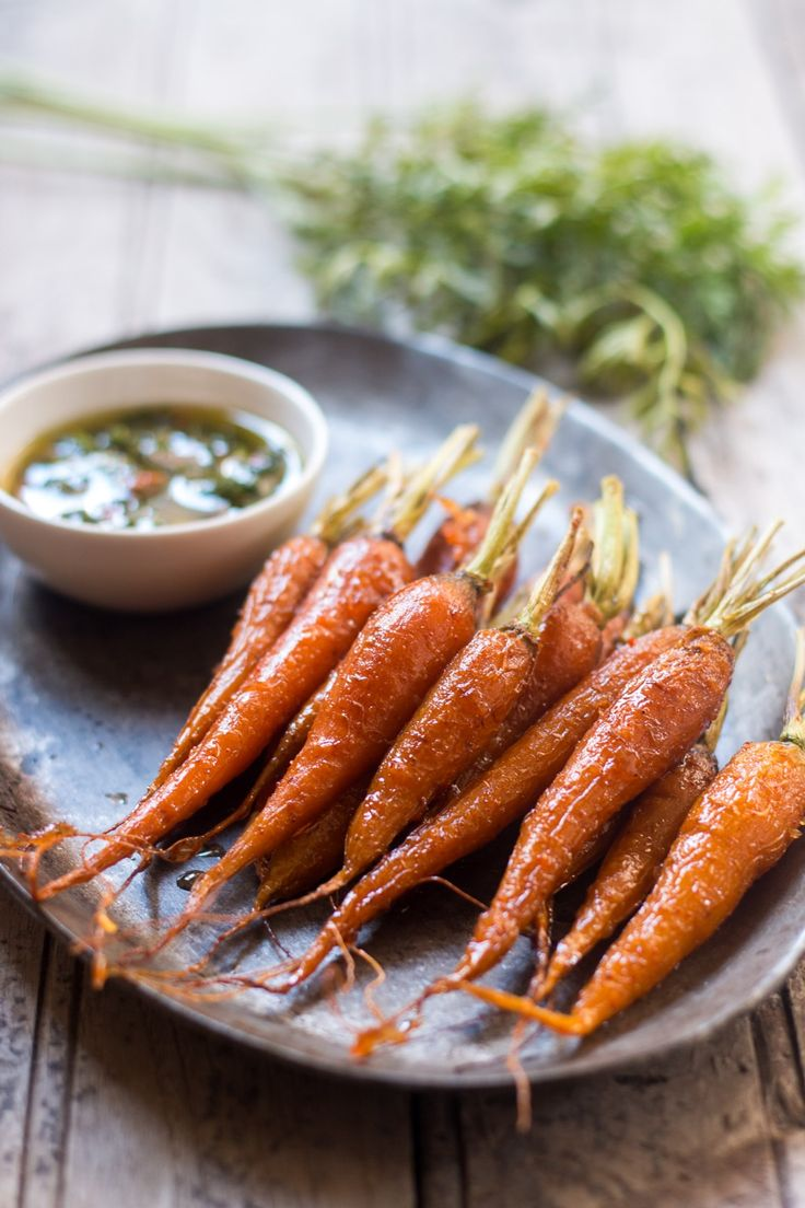 Honey Ginger Roasted Carrots with Carrot Greens Chimichurri: