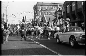 Bobcat and Bobkitten mascots in Ohio University homecoming parade, 1980 :: Ohio University Archives