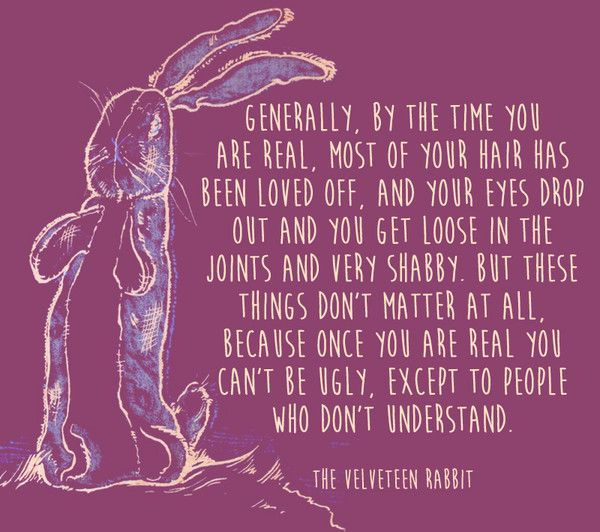 Mais ces choses ne comptent pas du tout, car une fois que vous êtes réel, vous ne pouvez pas être laid, sauf pour les personnes qui ne comprennent pas. – Le lapin de velours   – Motivational Quotes