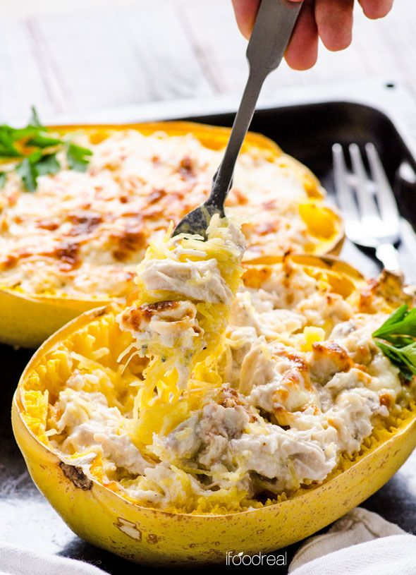 small handbags Greek Yogurt Chicken Alfredo Spaghetti Squash Boats made with Greek Yogurt