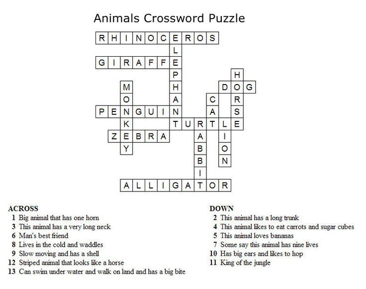 Kids Crossword Puzzles - Print your animals crossword ...