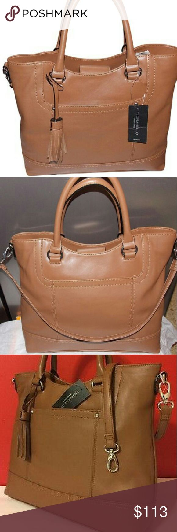 "🎁 NWT NEW Saddle Leather Shopper Tote Bag Purse New with tags 100% Leather NEW Tignanello Handbag Shopper Tote RETAIL $175.00 + tax = $192.00 Brand New with Tags Attached  EXTERIOR  Genuine Leather  Approx. Measures 12"" W x 14"" H x 3.5"" DDouble rolled handles with approx. 6"" drop Detachable shoulder strap with approx. 12"" drop Magnetic snap bridge closure Polished silver-tone hardware Detachable saddle leather tassel One front slip pocket Tignanello Bags Shoulder Bags"