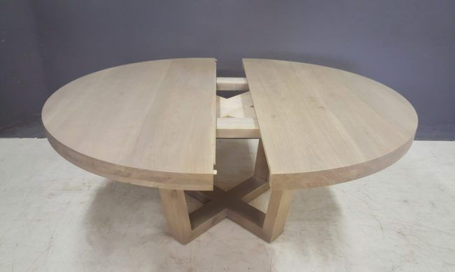Extendable Round Aquarius Dining Table In French Oak Round