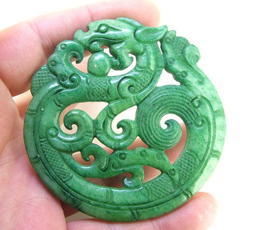 Double Face Carved Green Jade Rare Ancient Sacred Animal Old  Dragons Jade Amulet Talisman Chinese Jade Carved Pendant, Jade Pendant 67mm