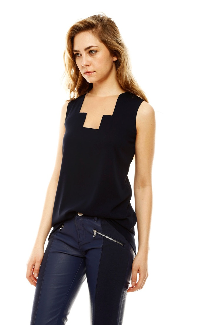 Geometric Cut Silk tunic top with mesh tulle detail at neckline
