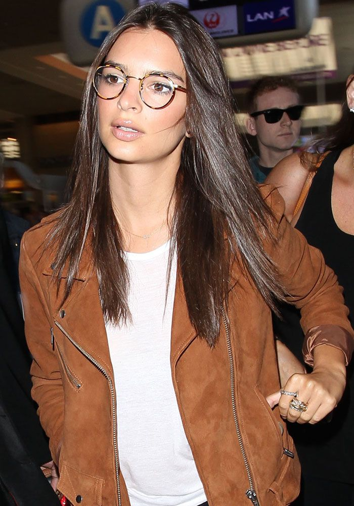 """Emily Ratajkowski Laughs Off Angry """"Fans"""" at LAX, Pairs Her New Glasses with Suede Derbys"""