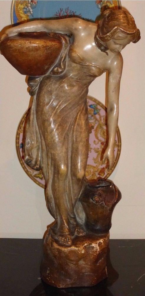GOLDSCHEIDER RARE HUGE ANTIQUE TERRACOTTA FIGURINE OF A FEMALE WATER CARRIER #GOLDSCHEIDER