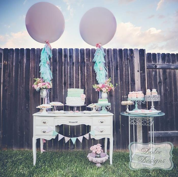 giant balloon tassels wedding | Items used in this Mint and Pink Dessert Table available in Kara's ...