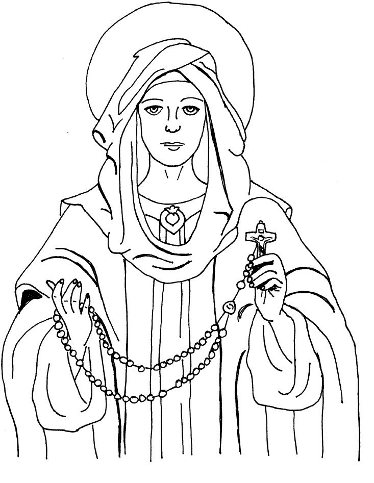The Virgin Mary Portrait Coloring Pages
