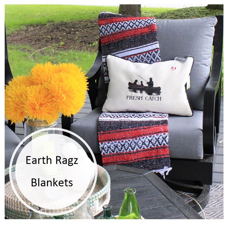 Stay cozy outdoors this weekend with an Earth Ragz throw blanket or pullover. Starting at $15.99, these Mexican inspired textiles are a steal! #endlessideas #longweekend #cottagedecor #interiordesign #decor#decorating #homedecor #interiors #shoplocal #brooklin