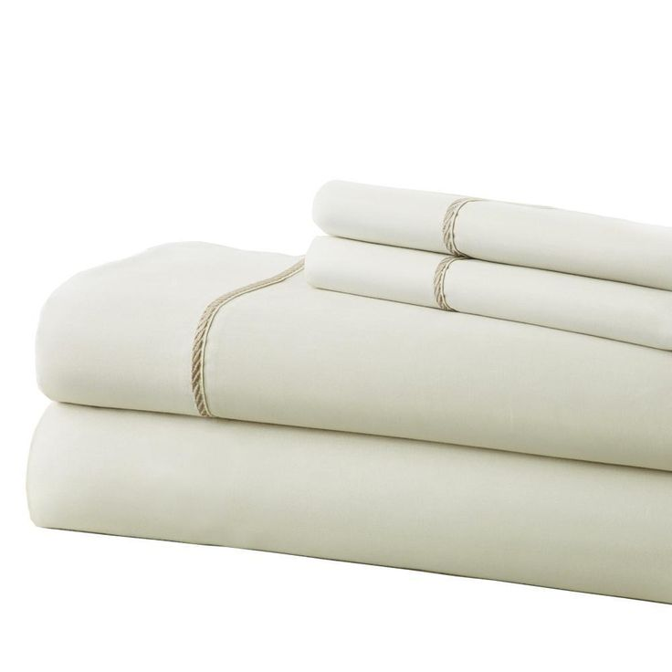 Fine Linen 100% Cotton 4 Piece Sheet Set Ivory/Taupe Rope Hem