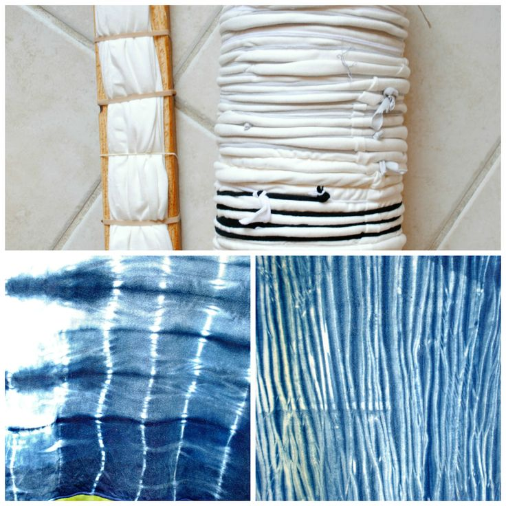 Trash To Couture: DIY Shibori with Indigo (A little different than tie dye, Shibori is a Japanese method of dying patterns by twisting, binding, wrapping, folding, and such. The main dye used for this technique is Indigo because of its easy-to-create resistance patterns on fabric...)