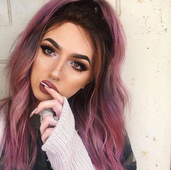 Cool Pink Hair With Darker Roots Unnatural Hair Color Hair Color For Brown Eyes Dark Pink Hair
