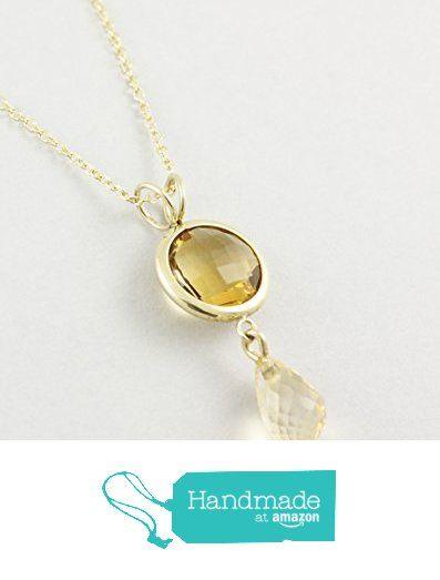 Citrine necklace, 14K solid gold, AP011 from Kyklos Jewelry Lab http://www.amazon.com/dp/B01ELH9NPA/ref=hnd_sw_r_pi_dp_niCpxb1RZCFZ8 #handmadeatamazon