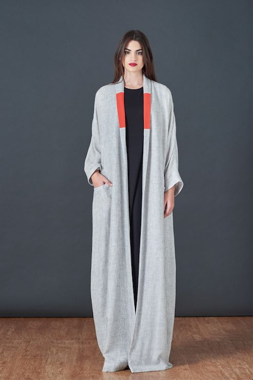 Red Collar Cashmere Cardigan Abaya