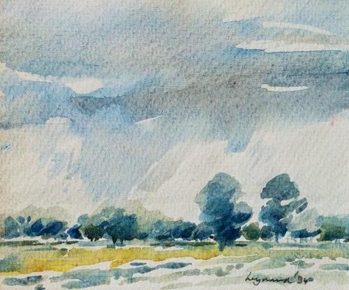 Wynand Smit Snr Artist / Architect - landscape watercolour 1984