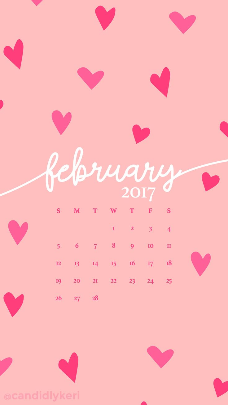 Pink hearts February calendar 2017 wallpaper you can download for free on the blog! For any device; mobile, desktop, iphone, android!