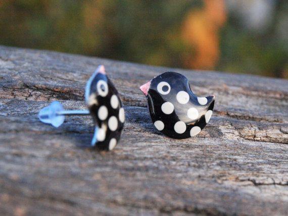 Black Bird Earrings  Funny Enameled Metal Spotty by CinkyLinky