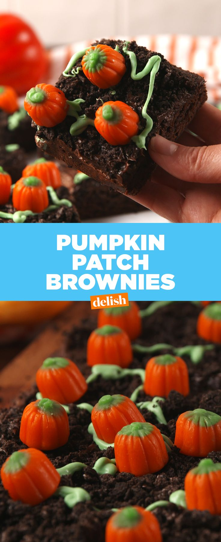 These Pumpkin Patch Brownies are the no-fail Halloween treat you'll make every single year. Get the recipe at Delish.com.