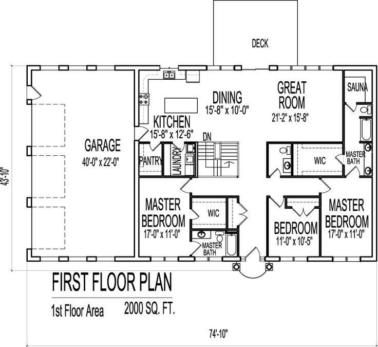 charming 2000 sq ft craftsman house plans #4: 2000 square foot modern house floor plans home plan design for 2000 sq ft  blueprints drawings 3 Bedroom single floor 1 one story open floor plan with  3 car ...