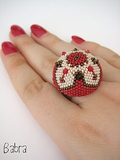 Beaded cocktail ring