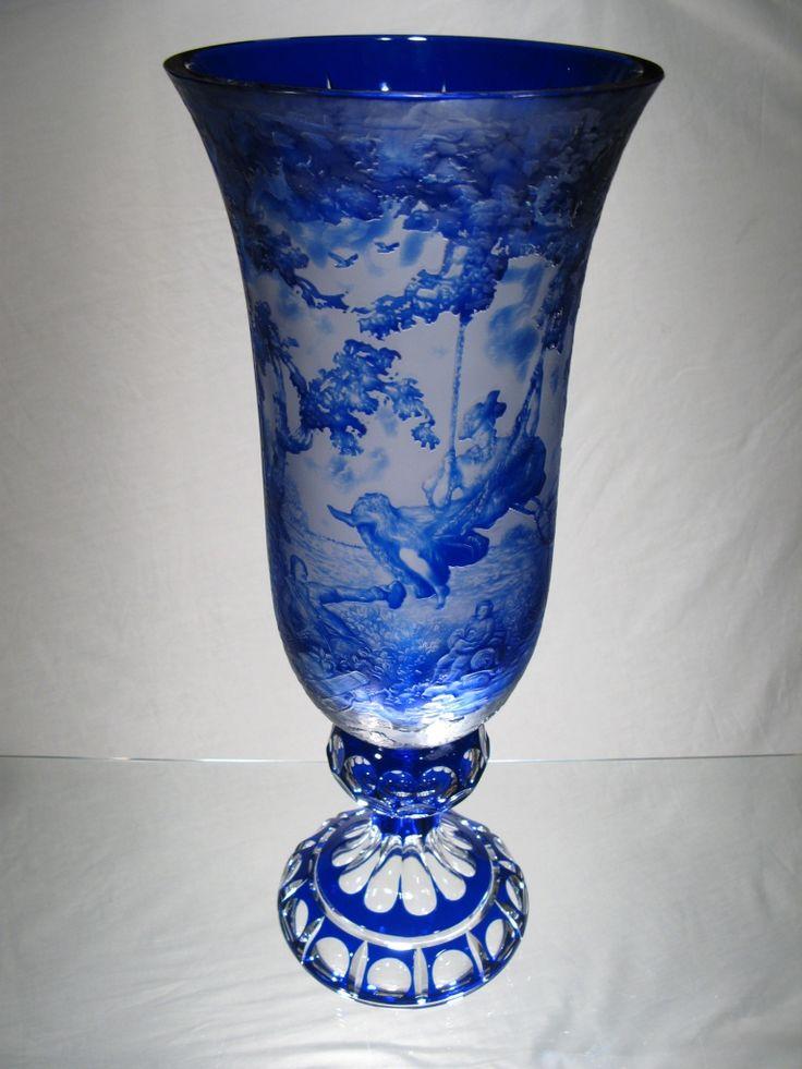 Vase en cristal taillé - Vase Femme sur balancoire - Vase en Cristal de Bohème