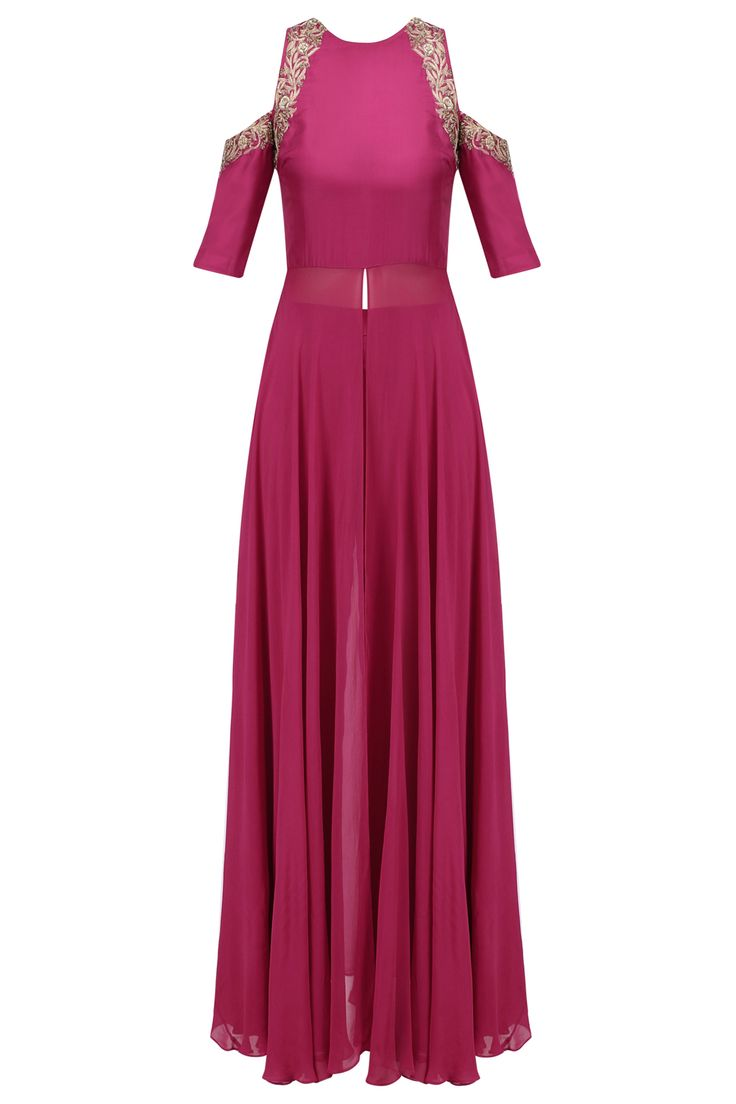 Samatvam Pink floral embroidered cold shoulder kurta and pants set available only at Pernia's Pop Up Shop.