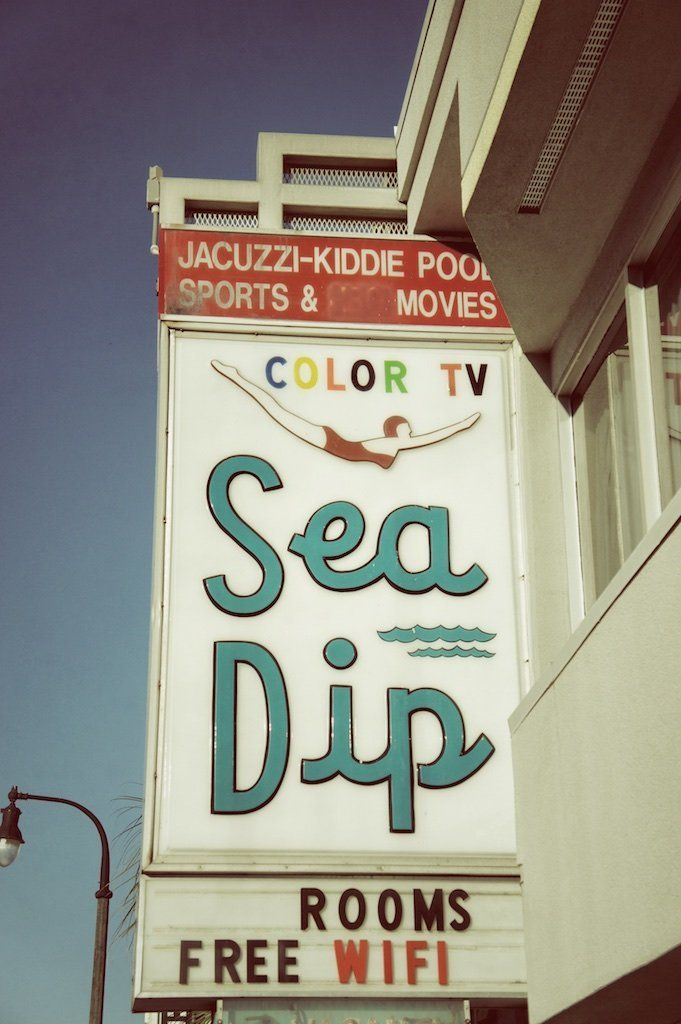Retro Motel Sign, Beach Decor, Sea Dip Motel, Myrtle Beach Photography. Vintage motel sign photograph of the Sea Dip Motel. Great guest bedroom decor piece, or for your family room decor. Vintage sign photography by Brandon Addis. Title: Sea Dip.